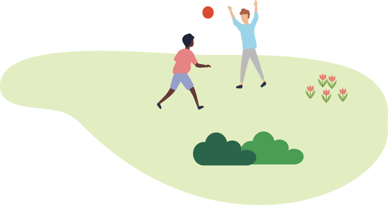 children playing with a red ball