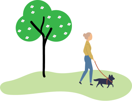 person walking a dog in the park